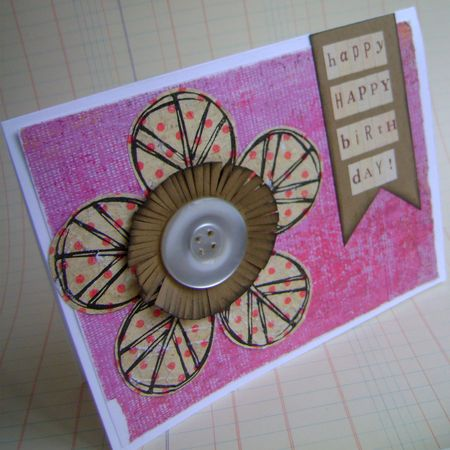 Leaf stamp flower card 1